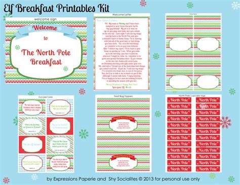 printable elf on the shelf kit the elf breakfast printable kit by expressions paperie