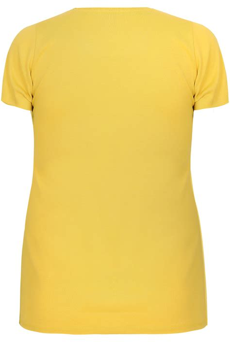 yellow light delivery service yellow sleeved v neck basic t shirt plus size 16 to 36