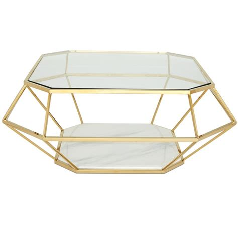 glass coffee table gold frame merin glass coffee table in clear with gold frame 30566