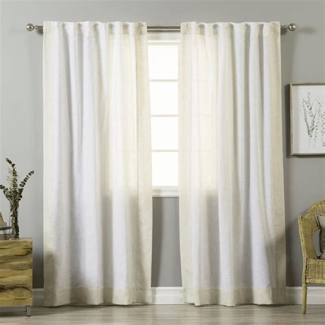 white linen blend flaxbordered curtain panel
