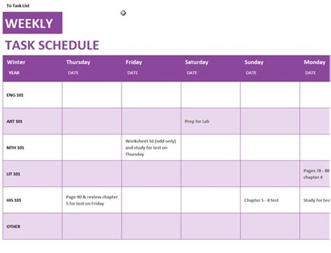 Weekly Task Schedule Retail Employee Schedule Template