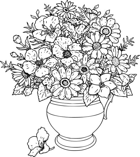 Flower Bouquet Coloring Pages Coloring Home Flower Bouquet Coloring Pages