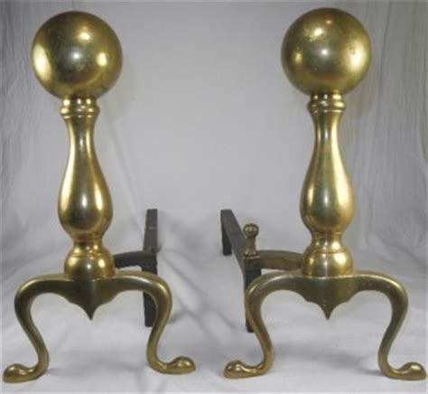 pair antique brass andirons fireplace dogs ebay