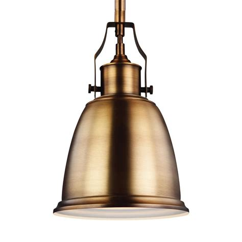 Brass Pendant Lighting Feiss Hobson 1 Light Aged Brass Mini Pendant P1357agb The Home Depot