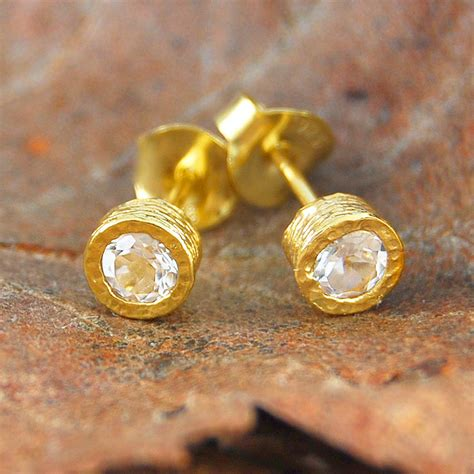 gold and white topaz stud earrings by embers gemstone