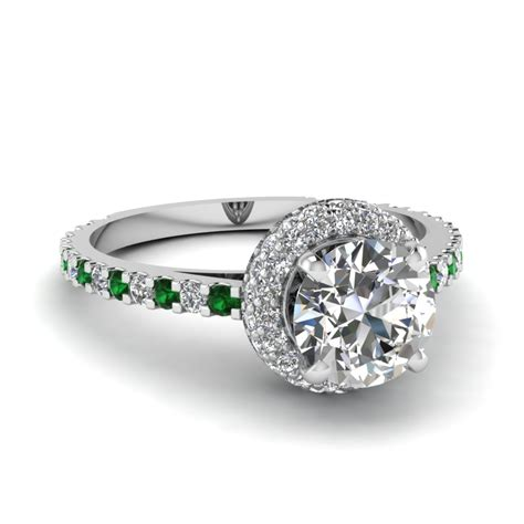 green emerald halo engagement rings fascinating diamonds