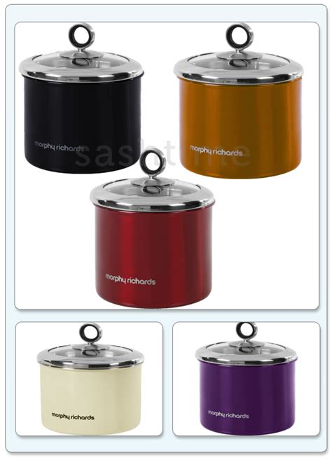 new morphy richards 3pc tea coffee sugar storage canisters