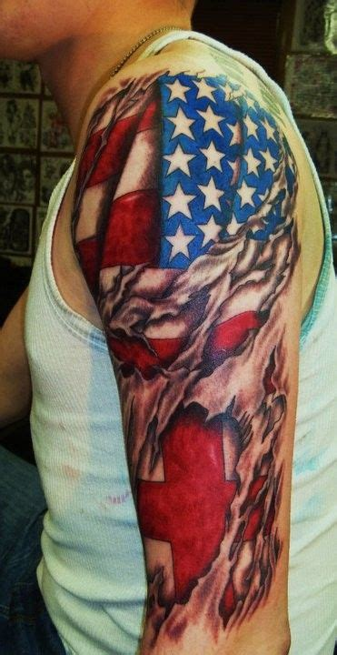 patriotic sleeve tattoos american flag torn on sleeve american flag