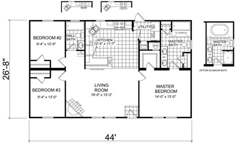 double wide floor plans nc bartel 28 x 44 1173 sqft mobile home factory expo home