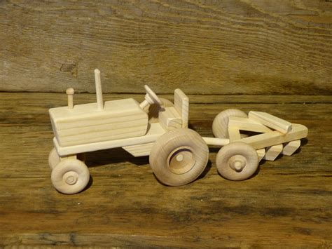 Handmade Wooden Toys Plans - handmade wooden toys farm tractor and plow wooden toys