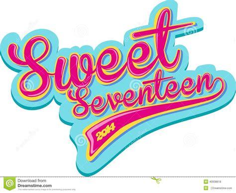 design banner sweet 17 sweet seventeen retro design stock illustration