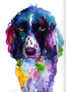 colorful english springer setter spaniel dog portrait art