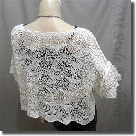 scallop edge knit mesh sweater top white