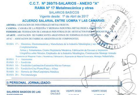 escala salarial 2016 rama 17 metalurgico metal 250 rgicos escala salarial uom 2017 cct 260 75