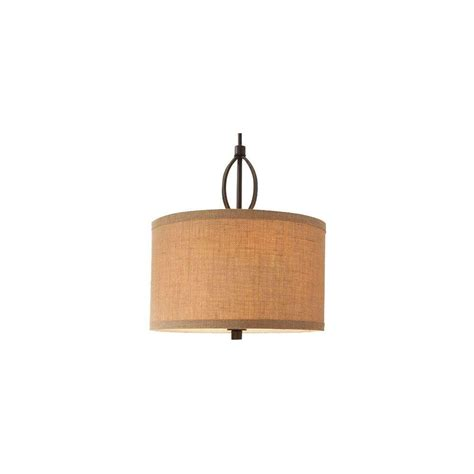 Hton Bay 3 Light Oil Rubbed Bronze Pendant With Burlap