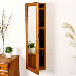 wall mount jewelry armoire with mirror oak walmart