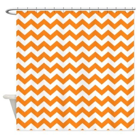 orange chevron curtains chevron pattern orange shower curtain by marshenterprises