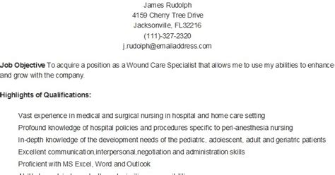 Wound Care Sle Resume by Resume Sles Sle Wound Care Specialist Resume