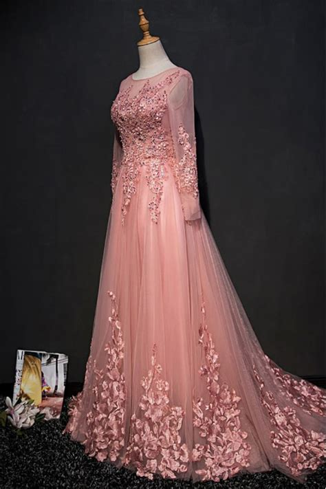 beautiful pink long sleeve prom dress  lace petals