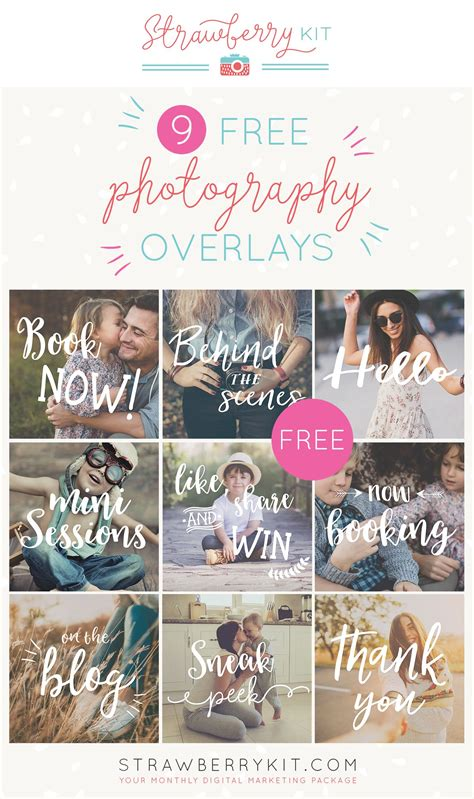 Social Media Photography Overlays Free Photography Design Templates Pinterest Overlays Mini Session Templates For Lightroom