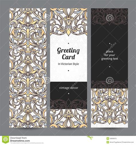 filigree cards templates vintage ornate cards in style stock vector