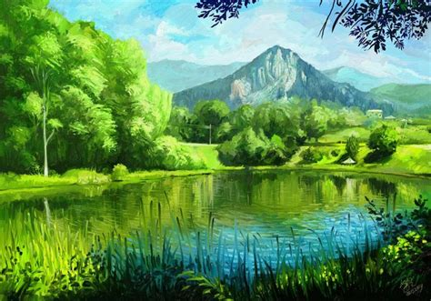 imagenes verdes paisajes dibujo de un paisaje con monta 241 as y 225 rboles verdes junto