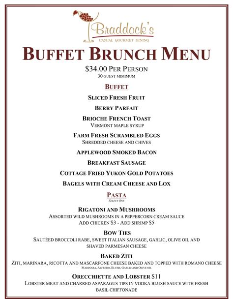 breakfast buffet menu buffet brunch braddocks