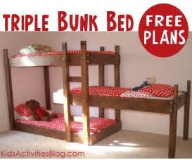 Blueprints For Triple Bunk Beds by Build A Bed Free Plans For Triple Bunk Beds
