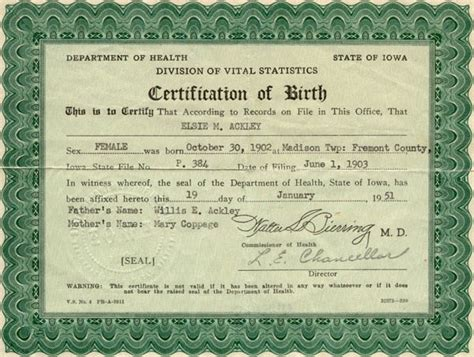 Pa Dept Of Vital Records Correct Birth Certificate Birth Certificate Elsie Ackley 1902 M