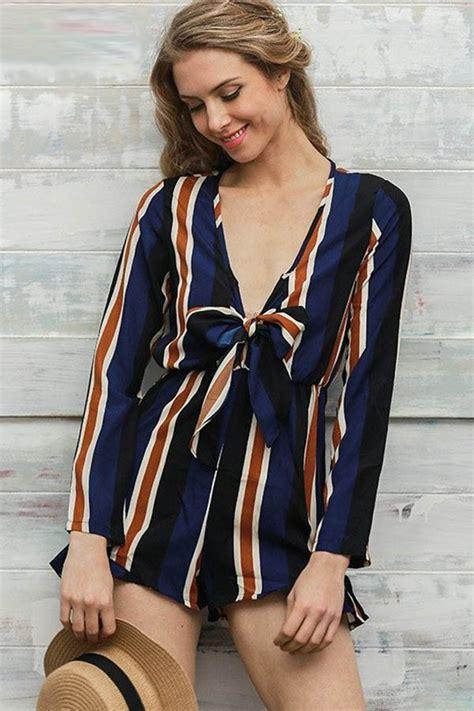 Jumpsuit Mini Stripe Cross Size S M L 43990 multi stripe print knotted sleeve romper 026817