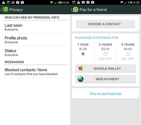 android whatsapp whatsapp for android gets new privacy settings and lets you pay for a friend s subscription