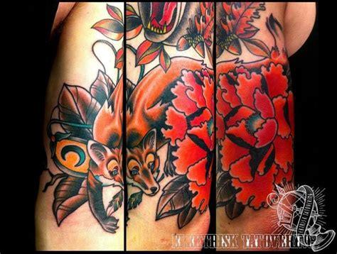 tattoo old school fox arm old school flower fox tattoo by elektrisk tatovering