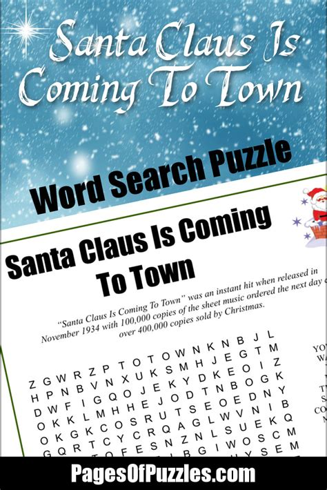 printable lyrics to naughty santa claus is coming to town word search pages of puzzles
