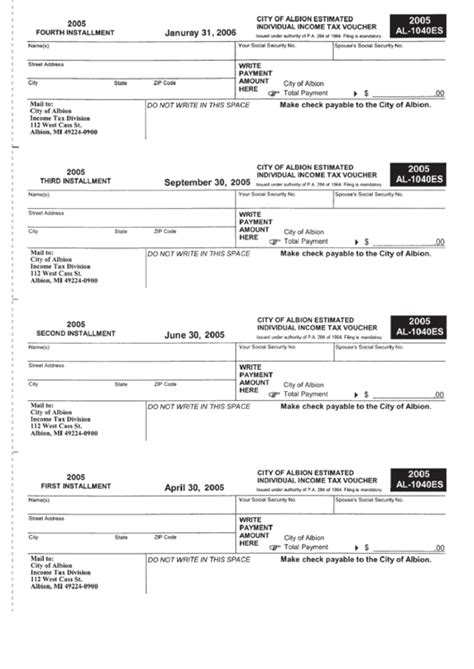 printable quarterly tax vouchers form al 1040es city of albion estimated individual