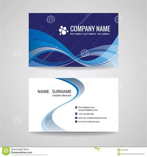 paper card wave template business card template abstract blue wave design stock