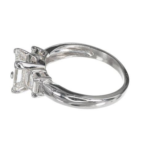 three emerald cut platinum engagement ring