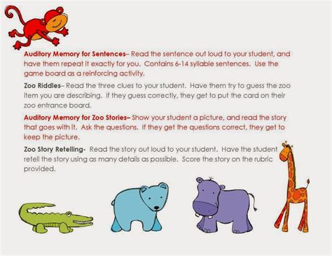 Auditory Memory Activities Worksheets by Auditory Zoo Auditory Memory Activities For Sentences