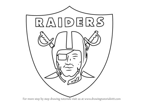 step by step how to draw oakland raiders logo