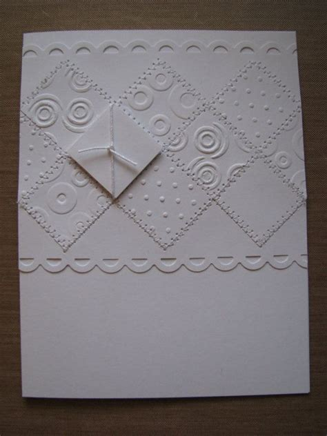 Handmade Embossed Cards - embossed all white handmade greeting card with sewn accents