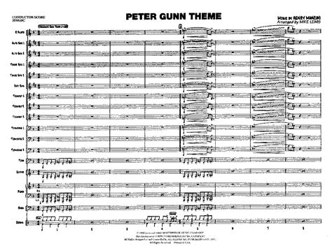 theme music lewis peter gunn by henry mancini arr mike lewis j w pepper
