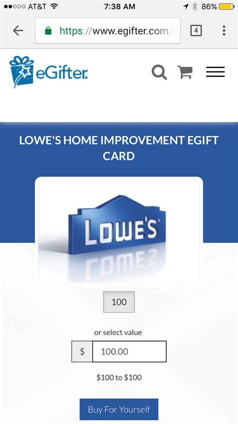 Lowes E Gift Card - 100 lowe s egift card for 90 from egiftertravel with grant