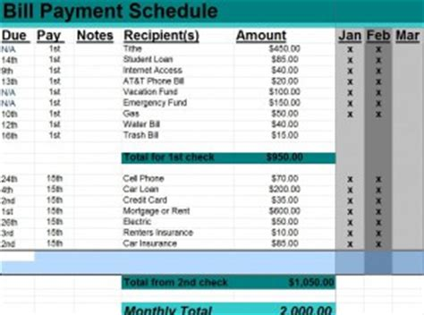 credit card payment schedule template bill payment schedule template word excel