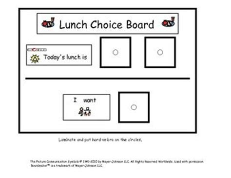 choice board template lunch choice board for with autism lunch choice