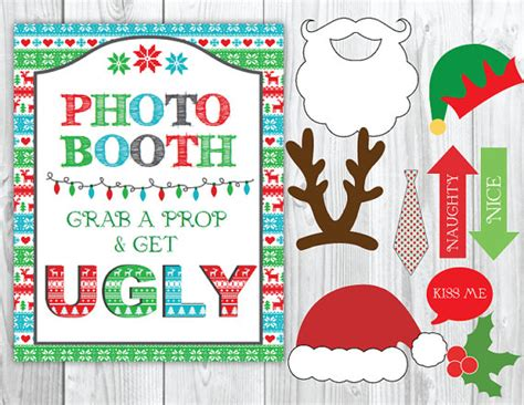 printable ugly sweater photo booth props ugly sweater party christmas photo booth sign diy