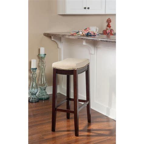 linon home decor claridge 32 in brown cushioned bar