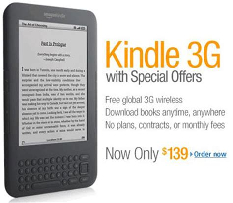 Advertising 3 E Book 13 kindle price cut kindle 3g with special offers now 139