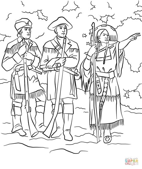 sacagawea with lewis and clark coloring page free