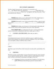 Child Custody Agreements Exles by Custody Agreement Template Resume Exles