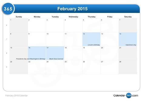 Calendar Feb 2015 February 2015 Calendar