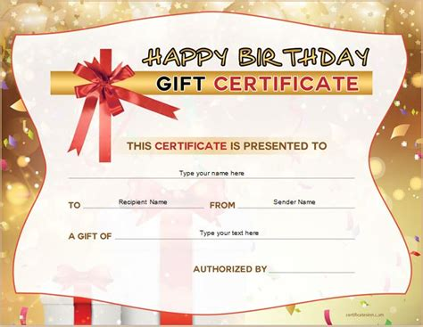 birthday gift card templates free free birthday gift certificate template formal word